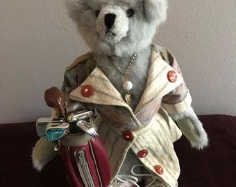 Sporty Lady Golfer Designer Teddy Bear . Artist Bear . Golf