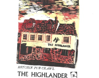 Highlander Hitchin Pub Crawl Lino and Letterpress Print- Poster