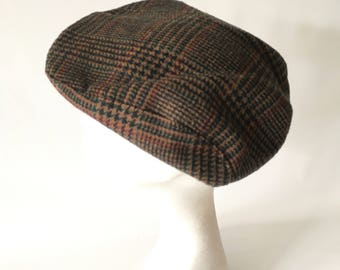 Newsboy Hat, Tweed Newsboy Cap, Tweed Newsboy Hat, Flat Cap, Tweed Cabbie Hat, Tweed Wool Cap, Irish Newsboy Cap, London Cabbie Cap