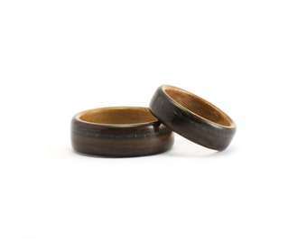 Wooden Wedding Bands, Bentwood Wedding Rings, Wooden Rings, Black Opal Bands, Ebony and Pear Wood Rings, Wedding Rings for Men or Women