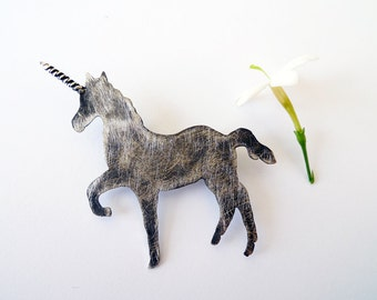 Dark Unicorn. Rough Silver Brooch. Hand Made Recycled Silver Brooch. Unique Cool Unicorn Brooch With Black And Scratches Finish. Art Jewelry