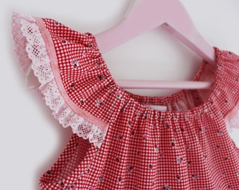 Girl's Red and White Gingham Dress with Strawberry print, Girl's Novelty Peasant Dress, 100% Cotton