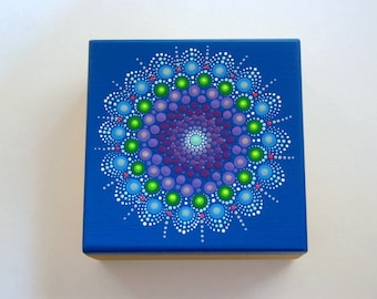 SHIP FREE-Wooden trinket storage stash box wood jewelry box OOAK 3D hand painted original mandala art pointillism dot art blue glow in dark