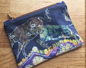 cow batik zipper pouch