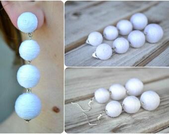 White bon bon bonbon earrings Three Four balls earrings Rebecca de Ravenel Les bonbons Ball drop earrings Gift for her Summer trendy earring