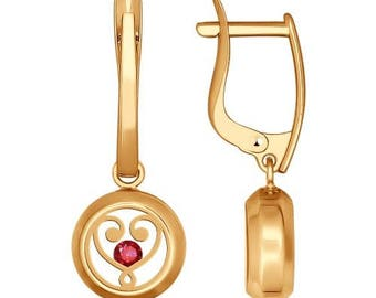14K Rose Red Gold earrings with Red CZ  - 585 Rose/Red gold - Heart Circle