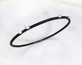 Seed Pearl Bangle - Freshwater Pearl, Silver, Oxidized Slim Bangle Bracelet