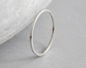Sterling Silver Smooth Ring, Silver Stacking Ring, Shiny Silver Band, Recycled Sterling Ring, 1mm Square Dainty Ring, Modern Ring, Alexis