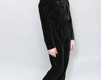 Vintage 1980's Black Velvet Straight Leg Jumpsuit