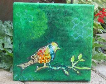 Bird on a Branch Collage Original Canvas
