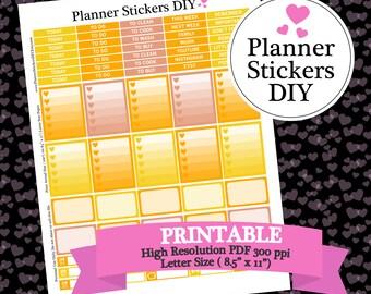 SALE - Yellow Planner Stickers - Yellow Orange Printable Sticker Kit - Warm Colors Planner Stickers Printable DIY