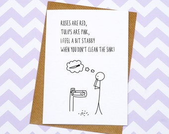 Funny Valentines Day Card - Anniversary Card - Shave In The Sink