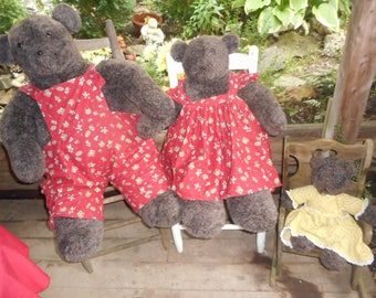 Handmade Large Three Brown  Bears-Papa Mama & Baby Bear-Vintage One of  Kind Unique-Perfect for  a Nursery