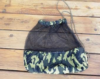 Mesh Camouflage Bag, Mesh Sports Bag, fully lined - Drawstring bag, Swim bag, Gym bag, Sport bag, child sized, Camouflage Bag by Sew4MyLoves