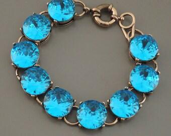 Crystal Bracelet - Aquamarine Bracelet - Sapphire Blue Bracelet - Rhinestone Bracelet - handmade jewelry