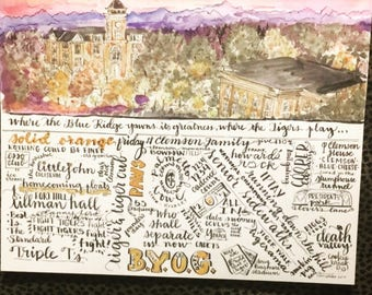 """Clemson Wall Art Print 8 1/2"""" x 11"""" watercolor handlettered Blue Ridge Mountains All In Tiger Paws Football Champions Solid Orange Tillman"""