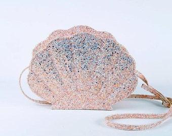 opal iridescent glitter sea shell bag mermaid bag
