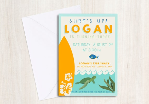 Luau Surf Party Birthday Invite in orange - Sea Turtle Party Invitation - Hawaiian Beach Party  - Party Supplies