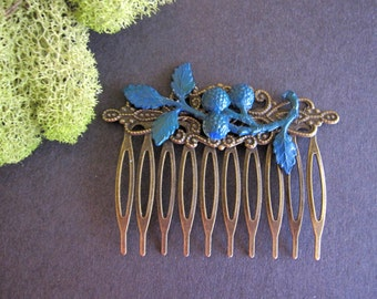 Branch Hair Comb, Berries and Branch, Floral Hair Comb, Midnight Blue, Woodland Hair Comb, Nature Inspired, Bohemian Hair Comb, Filigree