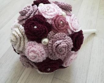 Crochet rose bouquet, alternative wedding bouquet, pink keepsake bouquet, handmade wedding flowers, crochet roses, vintage pearl bouquet