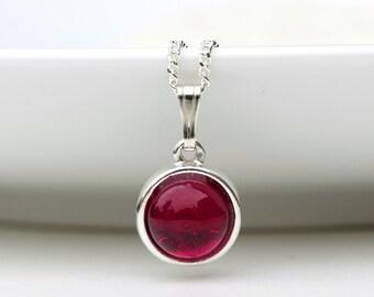 Ruby Necklace - July Birthstone Necklace - Ruby Pendant Silver - Ruby Cabochon Gemstone  Necklace - Ruby Jewelry Jewellery  - B14