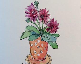 Polka Dots and Gerber Daisies Watercolor Card/ Hand Painted Watercolor Card