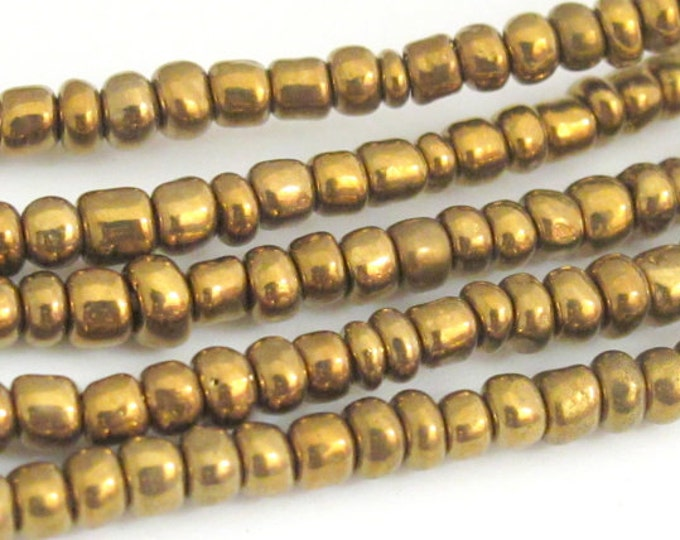 50 BEADS - Ghana gold brass color african Glass beads - AB003