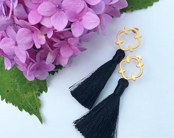 Black Tassel Earring - Black Earrings - Tassle - Beaded Tassel Earrings - Layered Tassel - Statement Earrings - Pom Pom