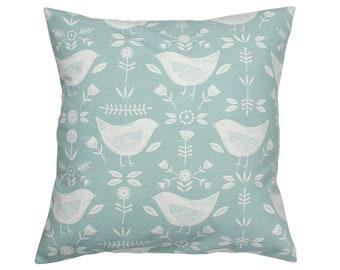 Narvik Seafoam Birds Scandinavian Fryetts Scandi Fabric Cushion Cover