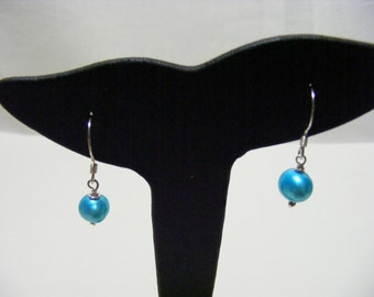 Sky Blue Freshwater Pearl and Sterling Silver Earrings