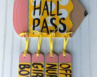 school hall pass, classroom hall pass, hall pass, school door hanger