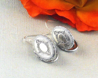 Photo Keepsake Silver Locket Earrings Oval Silver Locket, Locket, Locket Jewelry- ALLIE