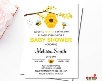 Bumble Bee Baby Shower Invitations, Honey Bee Baby Shower Invitations, Personalized Printable Invitation, C61