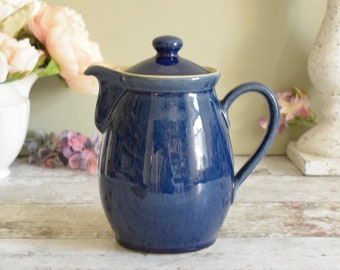 Vintage Denby coffee pot, indigo blue glazed stoneware 2 1/2pt