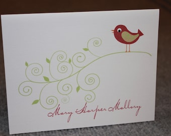 12 Personalized Notecards - Birds