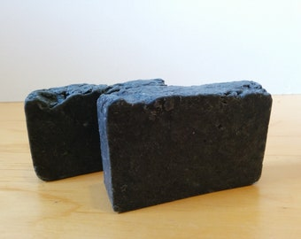 Rustic Charcoal, Clay and Olive Oil Handmade Hot Process Soap, Bergamot and Cedar - Vegan - Free US shipping
