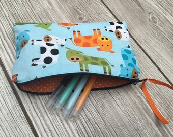 Flat zipper pouch, sky blue doublee.coton cows printed multicolored