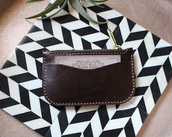 Coin zipper wallet in Chocolate