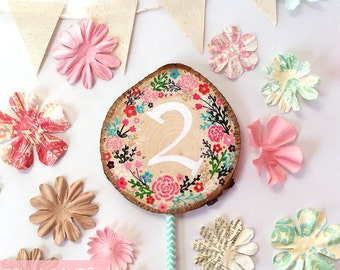 Rustic Cake Topper,Birthday Cake Topper,Floral Cake Topper,Woodslice Cake Topper,Baby Shower,Birthday Party,Wedding Cake Topper,Feminine