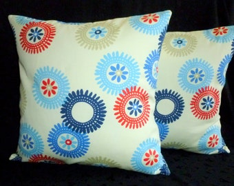 Decorative Accent Throw Pillow Covers - Two 18 Inch - Red, Cream and Blue