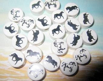New 25 Ceramic Round Horse Beads