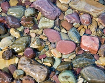 Wet Montana Lake Rocks, Rose Turquoise and Lavender, Natural Beauty, Photograph or Greeting card