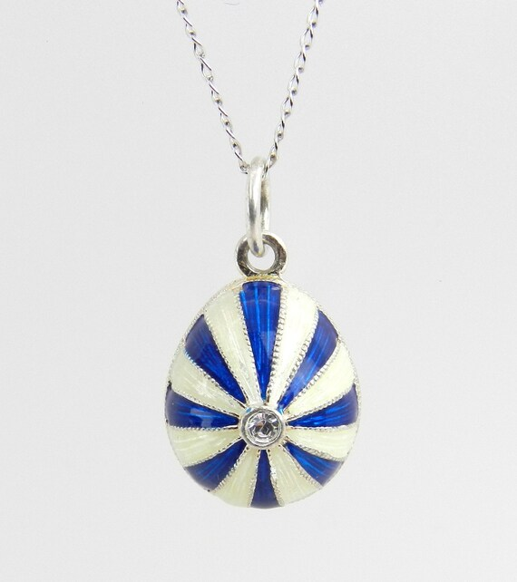 """Sterling Silver White and Blue Enamel Swarovski Crystal Pendant with Chain 18"""" Faberge Style Egg"""