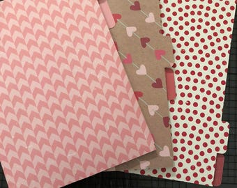 Valentines B6 Traveler's Notebook Dashboard Folders with Tabs fits Foxy Fix #5