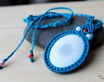 Cacholong pendant, blue necklace, handmade unique jewelry, micro macrame, talisman necklace, healing stones, gift for her, amulet jewelry