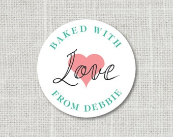 Personalized Food Labels, Gift Stickers, Baked with Love Stickers, Favor Labels, Baked Good Stickers