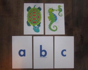 Vintage Flash Card Flashcards Picture ABC Alphabet Preschool Set Lot Frame (#1834)