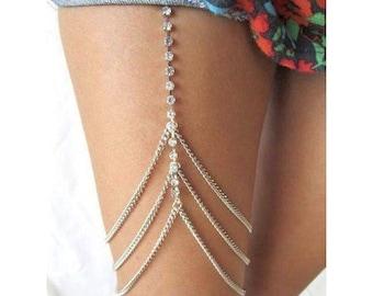 Silver Gold Rhinestone Chain Leg Chain Thigh Body Chain Harness Festival Bridal