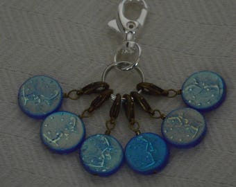 Once In a Blue Moon Handmade Set of Six Stitch Markers OOAK