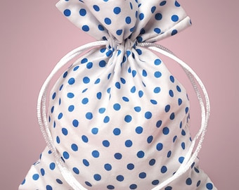 "Small 4"" x 5"" White with Light Teal Blue Polka Dot Drawstring Bag - 6 Quantity"